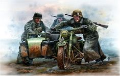 BMW R-75 German WWII Motorcycle w Sidecar- Trying to Get Out of Mud (box cover-Ukraine Scale Models)