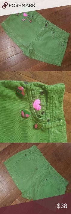 NEW!!! CUSTOMIZED CUTOFFS!!! One of a kind customized J Crew Favorite fit  lime green corduroy cutoff shorts Sz 6 J. Crew Shorts