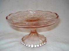 Fruteira Anos 50 Em Vidro Rosa Art Deco