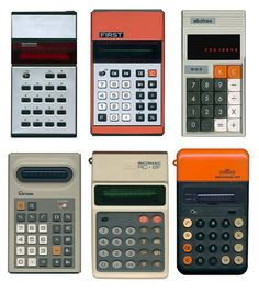 Old school calculators. Old school is right, like when I was in high school! Am I this old?