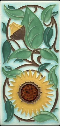 Motawi's Sunflower Tile, adapted from the watercolor paintings by William DeMorgan
