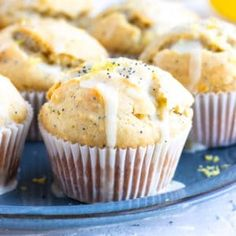 Lemon Poppy Seed Muffins are bursting with fresh lemon flavor and made healthy by using a gluten-free flour, dairy-free coconut oil, and honey as a na Muffin Recipes, Brunch Recipes, Breakfast Recipes, Easter Recipes, Breakfast Ideas, Lemon Poppyseed Muffins, Lemon Muffins, Whole30, Healthy Breakfast Muffins
