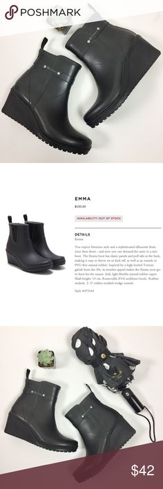 """Tretorn Emma Wedge Chelsea Black Matte Rain Boot Feminine style & a sophisticated silhouette in a rain boot. The Emma boot has elastic panels & pull tabs making it easy to throw on or kick off, as well as an outsole in PVC-free natural rubber. Inspired by a high-heeled Tretorn galosh from the 30s, its timeless appeal makes these your go-to boot. Soft, light flexible natural rubber upper. Shaft height: 14 cm. Removable EVA insole. Rubber midsole. 2. 5"""" wedge outsole.  Size: 37 (US Women's…"""