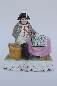 French Antique Old Paris Porcelain Napoleon Inkwell Inkpot 19th