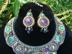 Bead Embroidered collar necklace Blue Lagoon от TraditionsJewels