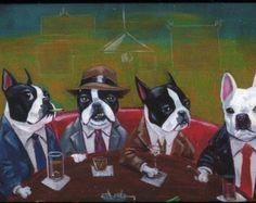 Three Boston Terriers and a French Bulldog print by by rubenacker