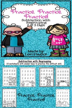 Practice subtraction with regrouping with these 10 adorable worksheets.