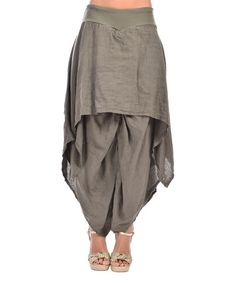 Look what I found on #zulily! Khaki Layered Linen Harem Pants - Plus Too #zulilyfinds
