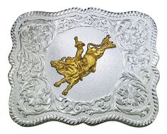 (MS61669-528) Scalloped Silver Western Belt Buckle with Bull Rider Concho by Montana Silversmiths