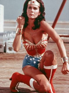 This was my childhood super-hero, I use to put my arms out and spin in a circle in the yard and pretend I was turning into Wonder Woman ;) Life was so easy back then ;) Lynda Carter as Wonder Woman (Source: blueruins) Linda Carter, Linda Evans, Yvonne Craig, Christopher Eccleston, Gal Gadot, Batman Returns, Super Heroine, Non Plus Ultra, Baby Boomer