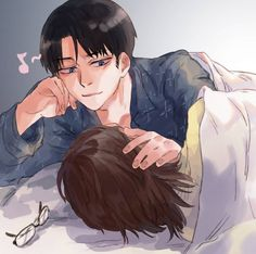 Who else has Levihan as their OTP and comfort ship?? Hanji Attack On Titan, Hanji And Levi, Attack On Titan Ships, Attack On Titan Fanart, Ereri, Levihan, Anime Guys Shirtless, Captain Levi, Iwaoi