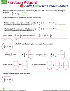 Worksheets: Adding Fractions with Unlike Denominators