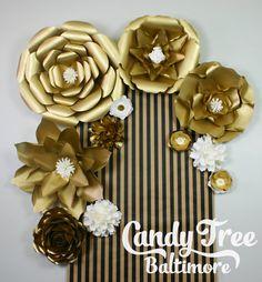 Gold paper flowers backdrop / Golden Paper Flower Backdrop /