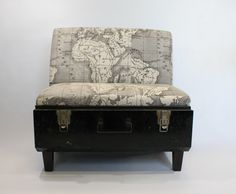 Black Trunk Chairs with African Mud Map Fabric – Seating – Furniture – Products – Recreate