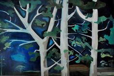 Woods at night Blue Forest b054 colorful forest by MOlasoArtStudio