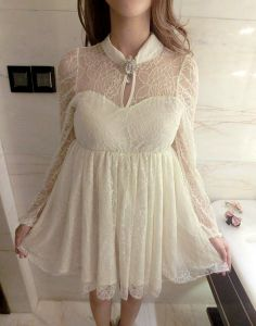 $11.95 Solid Color Sexy Round Neck Self-Tie Diamante Long Sleeve Lace Dress For Women