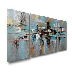 Pintada a mano Abstracto Paisaje Pinturas de óleo,Modern Tres Paneles Lienzos Pintura al óleo pintada a colgar For Decoración hogareña 2018 - $117.49