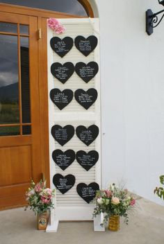 Louvre door with chalkboard hearts for table plan -  www.quirkyparties.co.za
