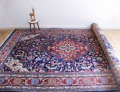 Handgeknoopt blauw/rood Perzisch tapijt. Vintage wollen kleed : Tappeti e moquette di Flat sheep