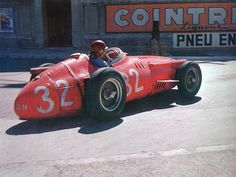 Juan Manuel Fangio racing to victory from pole at the 1957 Monaco Grand Prix, in a Maserati 250F,