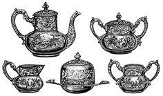 Victorian tea set, antique teapot, vintage tea clip art, black and white graphics, tea party clipart