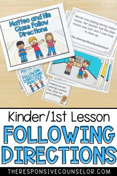 Teach your kindergarten and first grade students how to follow directions with my Following Directions Lesson and Activities! This is a great resource to teach your primary students why following directions is important, and also teaches them how to follow directions, and then provides opportunities to apply what they have learned. This is a great resource for classroom teachers or school counselors! Following Directions Activities, Responsive Classroom, Easel Activities, Guidance Lessons, Student Data, Skills To Learn, Social Emotional Learning, School Counselor, Teacher Newsletter
