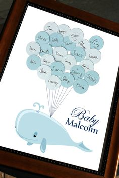 Baby Shower Guest Book - Whale with Balloons - Light striped background - Nautical Sea Theme