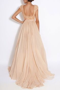 Peach pastel long dress.