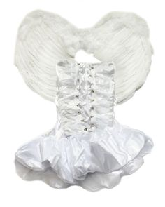 Charming, sexy, Angel costume in white performs well to give a sweet and charming look. Top of dress enhances the sexy charming shoulder line and adjustable, flexible and convenient top design shows the sexy enticing waist curve with adorable tutu skirt.