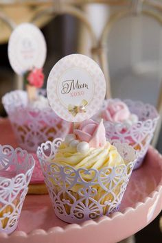This beautiful Mother's Day display was created by The Little Big Company. The cupcakes and macarooms are both so pretty and I'm sure mom's would love them! Mothers Day Cupcakes, Mothers Day Cake, Mothers Day Crafts, Happy Mothers Day, Pretty Cupcakes, Beautiful Cupcakes, Yellow Cupcakes, Mini Cakes, Cupcake Cakes