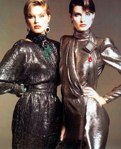 Renée Simonsen and Joan Severance, 1983Dresses by Valentino