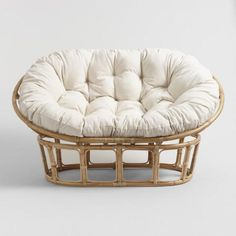 Our double papasan chair frame is beautifully handcrafted in Indonesia of bent rattan secured with wrapped rattan-peel binding. Wooden Dining Room Chairs, Farmhouse Table Chairs, Shabby Chic Table And Chairs, Accent Chairs For Living Room, Vintage Chairs, Double Papasan Chair, Large Chair, Papasan Cushion, Myconos