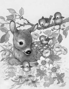 Greyscale Animal Babies | Adult Coloring Page Free Download