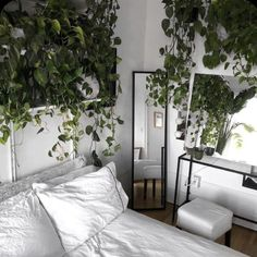 Waking up in a bed draped in greenery doesn't sound half-bad. Waking up in a bed draped in greenery doesn't sound half-bad. Small Room Bedroom, Room Ideas Bedroom, Small Rooms, White Bedroom, Bedroom With Plants, Nature Bedroom, Hippy Bedroom, Men Bedroom, Bohemian Bedroom Decor