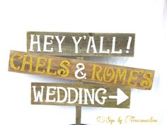 Gold Name Wedding Signs Rustic GLITTER Romantic by TRUECONNECTION, $99.00