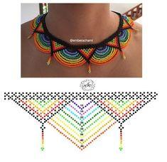 Collar + esquema Diy Necklace Patterns, Beaded Jewelry Patterns, Bead Loom Patterns, Beading Patterns, Bead Jewellery, Seed Bead Jewelry, Seed Bead Tutorials, Beading Tutorials, Bead Crochet