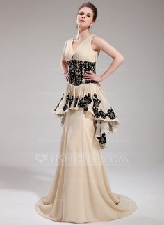 A-Line/Princess V-neck Sweep Train Chiffon Evening Dress With Ruffle Lace Beading Sequins (017019759)