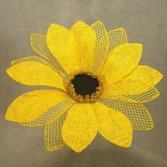 1 Pc, 12 Inch Wide 12 Inch Tall Burlap Sunflower Pick Great For Seasonal Displays
