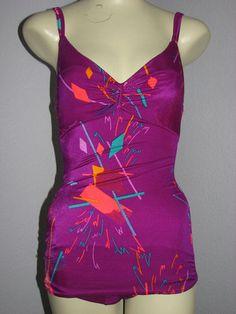 Vintage Magenta Swimsuit 1960's 70's Neon Pattern