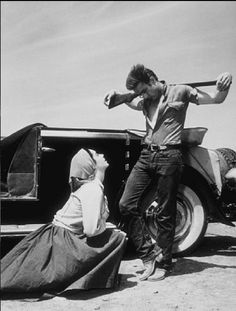 Elizabeth Taylor and James Dean filming Giant in 1955
