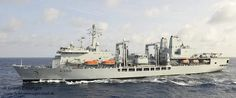 Royal Fleet Auxiliary support vessel RFA Fort George is pictured at sea, following a refuelling operation with a Royal Navy warship.