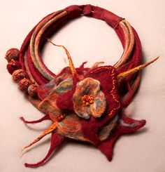 Felted necklace: orange, brown, blue, red, claret with brooch