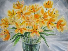 "Artist: David Blackwood ""December Tulips"", 2009 Watercolour 20 x 27 inches Tulips, Watercolour, Contemporary Art, Glass Vase, December, David, Newfoundland, Gallery, Artist"