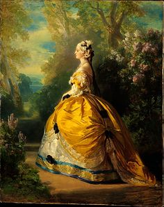The Empress Eugénie (Eugénie de Montijo, 1826–1920, Condesa de Teba)  Franz Xaver Winterhalter, 1854 / The present work is, in contrast, relatively intimate in scale and effect. It shows the empress in a Second Empire adaptation of an eighteenth-century gown.