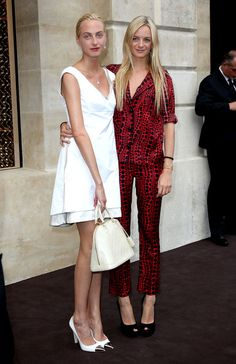 Sisters Claire Courtin-Clarins and Virginie Courtin-Clarins attend the opening of the new Louis Vuitton store on the prestigious Place Vendome