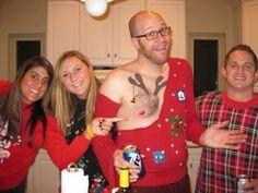 Worst Ugly Christmas Sweater Ever!  Easy Winner!  Slam Dunk for Nipple Nose!