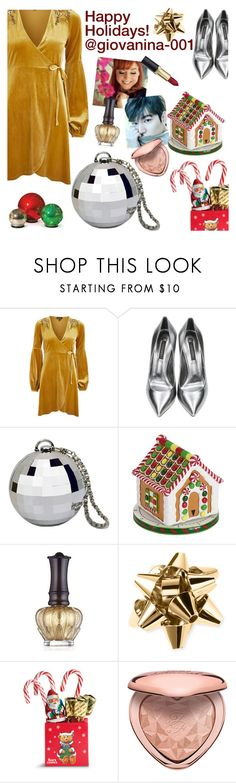"""""""Happy Holidays! @giovanina-001"""" by elliewriter ❤ liked on Polyvore featuring Topshop, Casadei, Boston Warehouse, Anna Sui, Kate Spade, Too Faced Cosmetics and Improvements"""