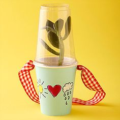Paper Cup Terrarium -  Make it: Use markers to decorate a paper cup. Fill the cup with soil and place a small green plant inside. Give the plant a companion by adding a toy insect, a butterfly, or even a dinosaur on top of the soil. Cover the plant with a clear plastic cup and tape the two cups together. Place your new terrarium near a sunny window, add a little TLC, and track its growth together.