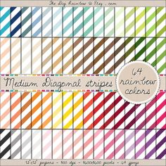 MEDIUM DIAGONAL STRIPES 64 colors scrapbooking printable papers for crafts, journaling, party organization and decor or any DIY projects. 40% OFF!
