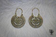 Sri Yantra Brass Mandala Hoops, Large Brass earrings, Tribal jewellery, Tribal earrings, Indian style, boho earrings, Sacred geometry